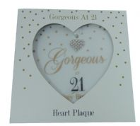 'GORGEOUS AT 21 HAPPY BIRTHDAY' HEART SHAPED CERAMIC HANGING SIGN BOXED....